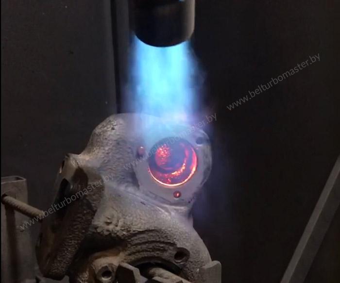 Процесс выжигания масла из турбины двигателя